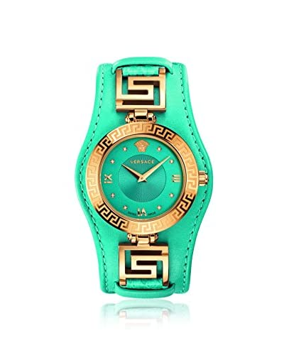 Versace Women's VLA080014 V-Signature Turquoise-Blue Leather Watch