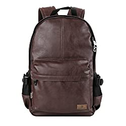 Koolertron Classic Casual PU Leather Vintage Fashion Unisex School Student Laptop Backpack For Camping Travel Fits Acer Aspire MacBook iPhone iPad and Samsung Tablet (Coffee)