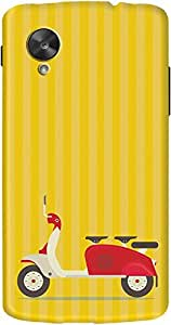 DailyObjects 3 To Go Scooter Striped Case For LG Google Nexus 5 (Yellow) (Back Cover)