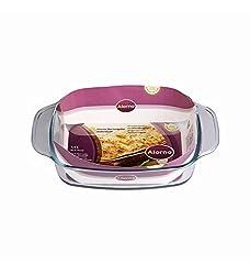 Alorno Borosilicate Glass, Easy Hands, Elipse Rectangular Roaster Baking Dish, 1.4 Ltr