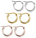 Jstyle Jewelry Stainless Steel Hoop Earrings for Women Huggie Hypoallergenic 3 Pairs a Set 10MM-50MM