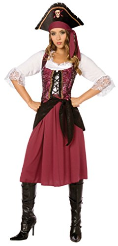 Morris Costumes Womens Burgundy Pirate Wench Sash Vest Hat Theme Party Dress