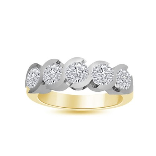 0.60 carat Diamond Half Eternity Ring for Women. G/VS1 Round Brilliant Diamonds in Rub Set Setting in 18ct Yellow & White Gold