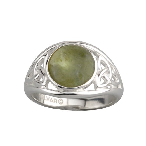 Solvar Trinity Knot Ring Silver & Connemara Marble Sz 9