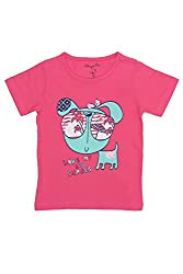 Chirpie Pie by Pantaloons Girl's Round Neck T-Shirt (205000005610425, Pink, 6 - 9 Months)