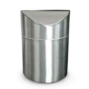 Relaxdays mini poubelle de table salle de bain couvercle - Poubelle de salle de bain inox ...