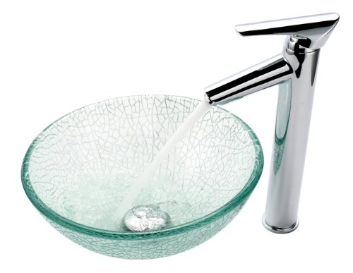 "Kraus C-GV-500-14-12mm-1800CH Broken Glass 14"" Vessel Sink and Decus Faucet Chrome"
