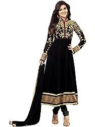 Isha Enterprise Women's 60gm Georgette Anarkali Suits(KFS390-2112_Black)
