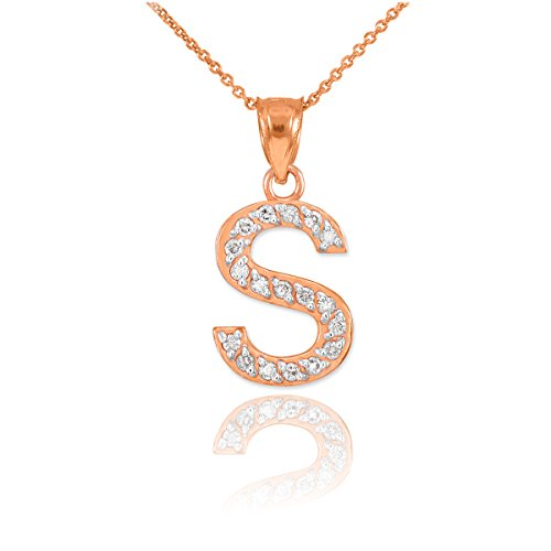Fine 14K Rose Gold Diamond Initial Letter S Pink Pendant Necklace, 16""