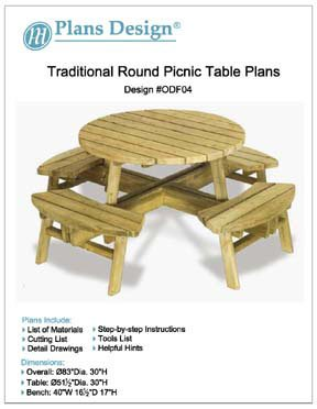 Traditional Round Picnic Table / Benches Woodworking Plans, #Odf04 front-776599