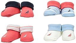 Nautica Baby Girls\' 4 Pack Assorted Booties, Pink/Light Blue, 0-6 Months