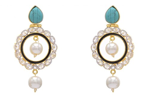 AD STONE STUDDED ROUND MEENA WORK CHAAND BAALI EARRINGS\/HANGINGS (BLACK TURQUOISE) - PCFE3163 (multicolor)