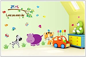 Free Will Cartoon Hippo Tiger Zebra Owls in Garden with Butterflies and Birds DIY Wall Decal Nursery Room Wall Sticker by Free Will