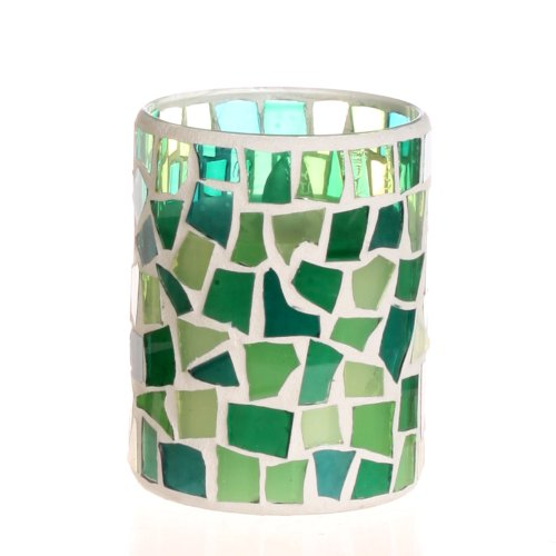 Dfl 3*4 Inch Irregular Spring Green Color Mosaic Glass With Flameless Led Candle With Timer,Work With 2 Aa Battery