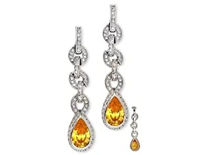 CZ EAR1714 Pear-Shaped C.Z. Canary Diamond Sterling Silver Drop Earrings