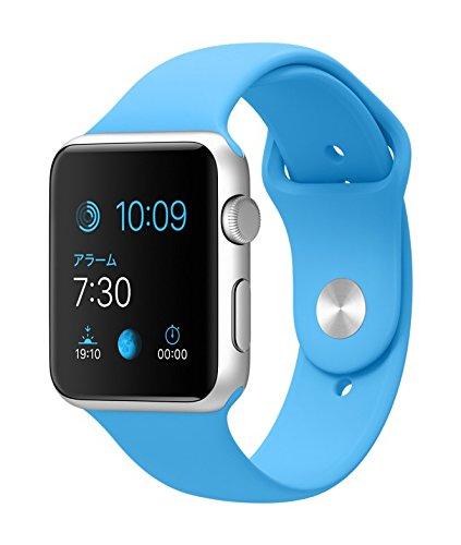 Apple Watch Sport 42mm シルバーアルミニウムケースと ブルースポーツバンド