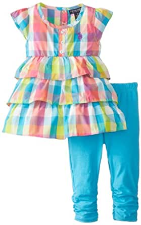 U.S. POLO ASSN. Little Girls' 2 Piece Tiered Ruffled Woven Top, Surf Blue, 4
