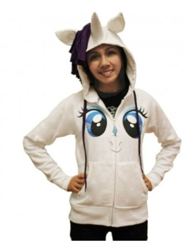 My Little Pony Rarity Face Juniors White Costume Hoodie with Mane & Horn