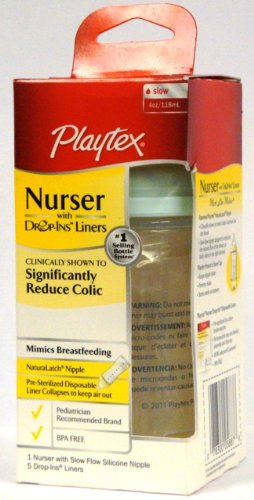 Playtex Nurser with 5 Drop-Ins Liners, 4 Oz, [Light Blue-Green] (Pack of 3) - 1