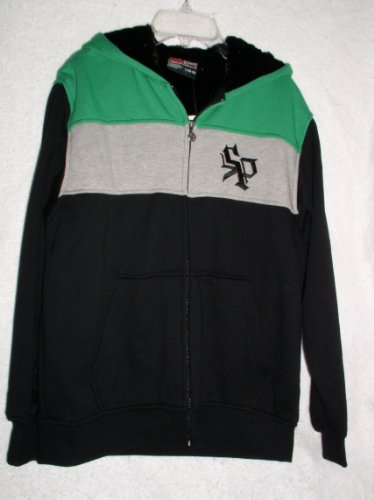 Southpole Boys Hooded Zip Up Hoodie Micro Mink Lined, Size Large (16-18), Green/Black