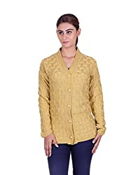 eWools Women's Gold Wool Sweater (1319-eWools-Large)