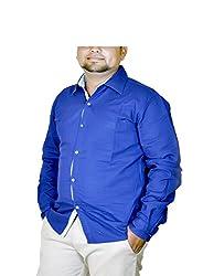 Routeen Men's Blue Slim Fit Shirt (SMRCTNLCD101S3_L)