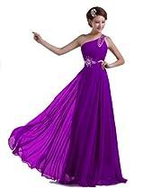 DLFashion One-shoulder Floor Length Beaded Chiffon Prom Dress M-8 Purple