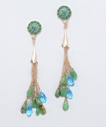 .925 Silver Plated Amazing Dangle Earrings from 'Fresh Sensation' Collection Designed by Amaro Jewelry Studio Designed with Variscite, Chrysocolla, Green Aventurine and Swarovski Crystal Accents