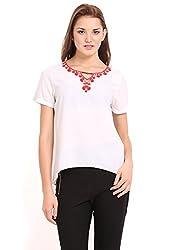 Femenino Ecru Coloured Embellished Top