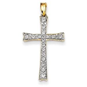 IceCarats Designer Jewelry 14K Diamond Cross Pendant