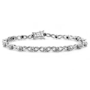 0.10 Carat (ctw) Sterling Silver Round White Diamond Ladies Link Hugs and Kisses XO 8 inch Tennis Bracelet 1/10 CT
