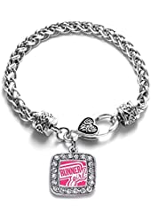 Runner Girl Running Marathon Charm Classic Silver Plated Square Crystal Bracelet