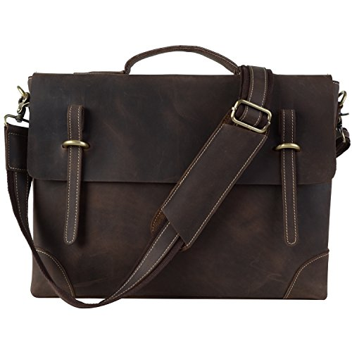 TOP-BAG®Men Leather Laptop Bag Briefcase Messenger Bag,N3122