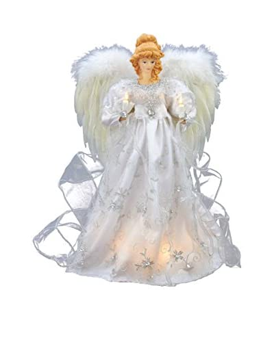 Kurt Adler 16 White and Silver Treetop Angel