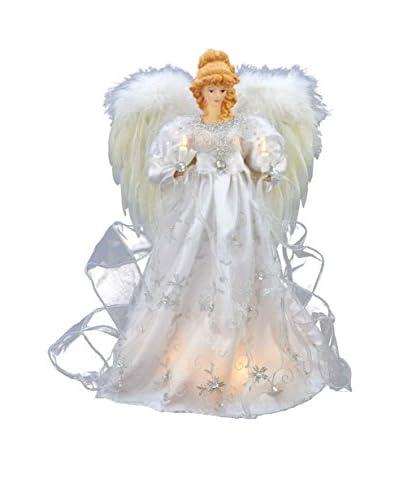 "Kurt Adler 16"" White and Silver Treetop Angel"