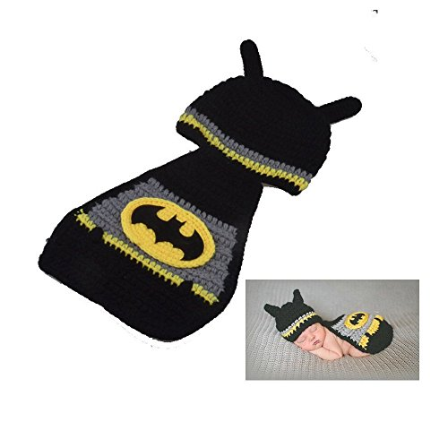 [Fast-Flying NewBorn Baby Crochet Knitted Prop Photographic Batman Clothing Style Hats and Cloak] (Batman Outfit Baby)