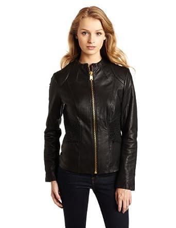 Via Spiga Women's Luxury Ruched Waist Leather Scuba Jacket, Black, Small