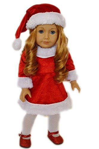 SANTA CHRISTMAS DRESS OUTFIT COMPLETE WITH SHOES FOR 18 INCH AMERICAN GIRL DOLLS - 1