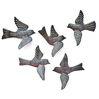 Haitian Birds Recycled Steel Drum Art 3-d Wings (Set of 5), Haitian Bird Art 5