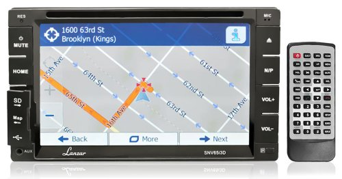 Lanzar Snv65I3D 6.5-Inch 2 X Din In-Dash Touchscreen Lcd Monitor With Dvd/Cd/Mp3/Mp4/Sd/Am-Fm/Bluetooth And Gps With Usa/Canada/Mexico Maps