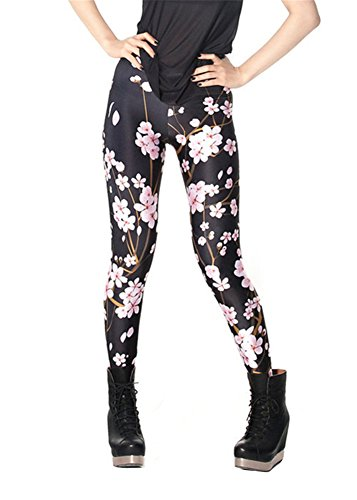 Women'S Fashion Digital Print Cherry Blossom Black Pattern Sexy Leggings