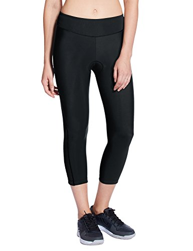 Baleaf Women's 3D Padded 3/4 Cycling Tights Wide Waistband UPF 50+ Black Size XL Womens Cycle Short