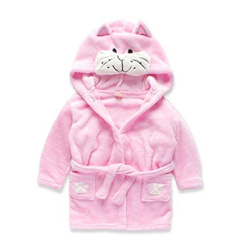 Cute Children's Clothing Kids Sleepwear Robes Pink Baby Girls Boys Soft Homewear-Cartoon Cat