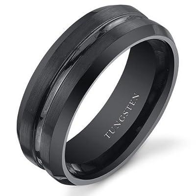 King Will Polished Matte Brushed Finish Center Black Tungsten Carbide Mens Ring