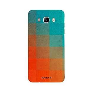 RICKYY _J5_1271 Printed Matte designer Orange and Blue Square case for Samsung J5