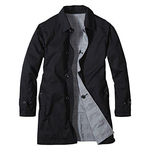 (エディー・バウアー) Eddie Bauer リバーシブルトレンチコート(ブラック/グレンチェック XL)