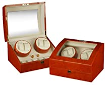 Mahogany Wood Finish 4 Watch Winder With 6 Additional Watch Storage Spaces, Two Turntable With 4 Program Settings.
