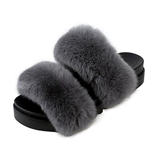 ZHLONG Tempo libero donna pantofole caldo autunno e l'inverno indoor pantofole peluche , 5 , 39