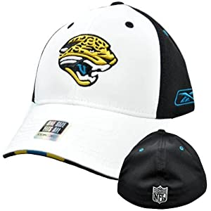 NFL Jacksonville Jaguars White Black Stretch Flex Fit One Size Reebok Hat Cap