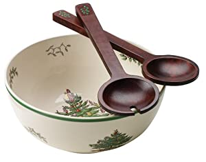 #!Cheap Spode Christmas Tree Round Salad Bowl and Wooden Servers, 3-Piece Set